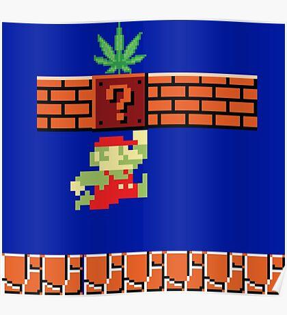 8-bit Retro Mario Marijuana Poster