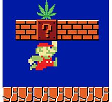 8-bit Retro Mario Marijuana Photographic Print