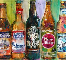 Alaskan - Budweiser - Arrogant - Pliny - Blue Moon Beer  Beer Painting Art by Dorrie  Rifkin