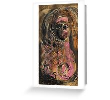 Girl with Headband and Pink Breast Greeting Card