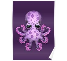 Cute Purple Baby Octopus Poster