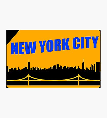 New York City Skyline Subway Card Photographic Print
