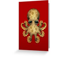Cute Brown Baby Octopus Greeting Card
