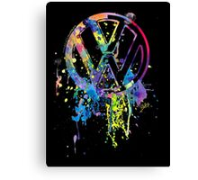 Volkswagen Emblem Splatter Canvas Print