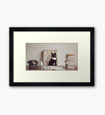 Corporate Cat Framed Print