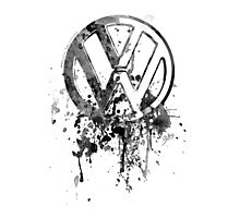 Volkswagen Emblem Splatter BW © Photographic Print