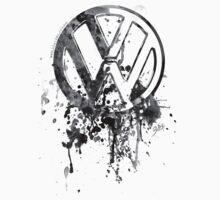 Volkswagen Emblem Splatter BW T-Shirt