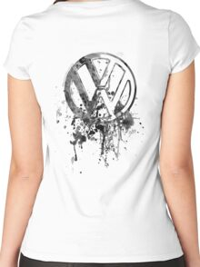 Volkswagen Emblem Splatter BW © Women's Fitted Scoop T-Shirt