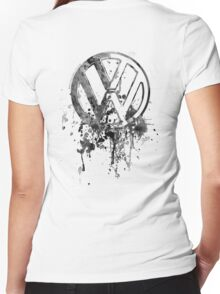 Volkswagen Emblem Splatter BW © Women's Fitted V-Neck T-Shirt