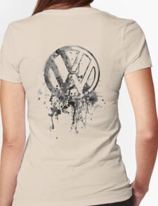 Volkswagen Emblem Splatter BW © Womens Fitted T-Shirt