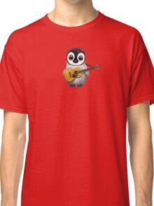 Musical Baby Penguin Playing Guitar Teal Blue Classic T-Shirt