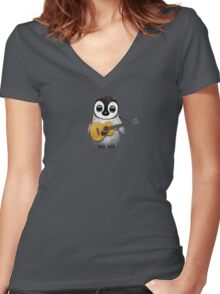 Musical Baby Penguin Playing Guitar Teal Blue Women's Fitted V-Neck T-Shirt