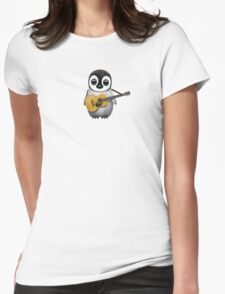 Musical Baby Penguin Playing Guitar Teal Blue Womens Fitted T-Shirt