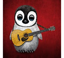 Musical Baby Penguin Playing Guitar Red Photographic Print