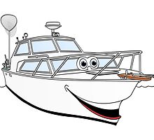 White Motor Boat II Cartoon by Graphxpro