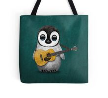 Musical Baby Penguin Playing Guitar Teal Blue Tote Bag