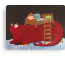 the sock monster under the bed Canvas Print