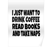 I Just Want To Drink Coffee Read Books And Take Naps Poster