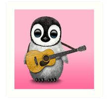 Musical Baby Penguin Playing Guitar Pink Art Print
