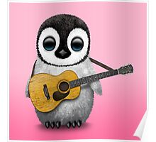 Musical Baby Penguin Playing Guitar Pink Poster