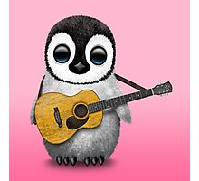 Musical Baby Penguin Playing Guitar Pink Photographic Print