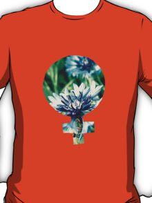 Blue Flowers Venus Symbol T-Shirt