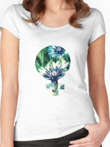 Blue Flowers Venus Symbol Women's Fitted Scoop T-Shirt