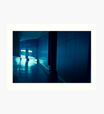 INTERIOR SHOT FROM THE LOWRY CENTRE MANCHESTER INSIDE CORRIDOR HALLWAY DARK BLUE CONCRETE MODERN ARCHITECTURE Art Print