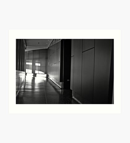 INTERIOR SHOT FROM THE LOWRY CENTRE MANCHESTER INSIDE CORRIDOR HALLWAY BLACK AND WHITE CONCRETE MODERN ARCHITECTURE Art Print