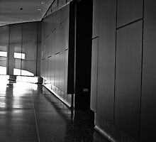 INTERIOR SHOT FROM THE LOWRY CENTRE MANCHESTER INSIDE CORRIDOR HALLWAY BLACK AND WHITE CONCRETE MODERN ARCHITECTURE by magichoc