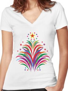 Fireworks Happy Occation  Women's Fitted V-Neck T-Shirt