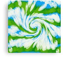 Groovy Green Blue Swirl Canvas Print