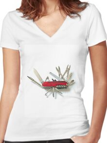 Multipurpose knife Women's Fitted V-Neck T-Shirt