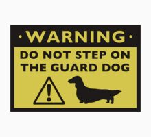 Humorous Dachshund Warning (Long Haired Dachshund) by Jenn Inashvili