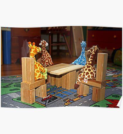 Giraffe Picnic Poster