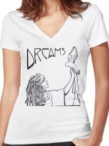 Stevie Nicks- Art Nouveau Style- B&W Women's Fitted V-Neck T-Shirt