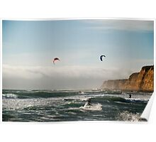Kite boarding in high winds under the bluffs Poster