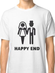 Happy End (Wedding / Marriage / Bridal Pair / Black) Classic T-Shirt