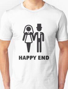 Happy End (Wedding / Marriage / Bridal Pair / Black) T-Shirt
