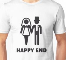 Happy End (Wedding / Marriage / Bridal Pair / Black) Unisex T-Shirt