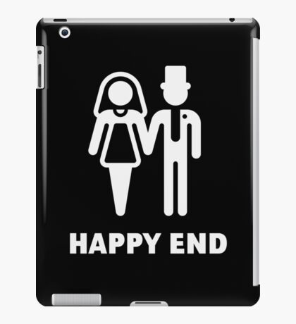 Happy End (Wedding / Marriage / Bridal Pair / White) iPad Case/Skin
