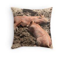 2 Little Piggy's Throw Pillow