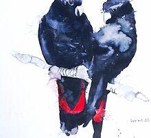 Art Sobrane Red Tailed Black Cockatoos by Sobrane