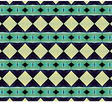 Blue And Green Diamond Pattern by Phil Perkins