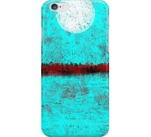 Land and Moon in Aqua and Red iPhone Case/Skin