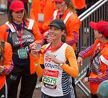 Christy Turlington Burns at the finish line of the Virgin money London Marathon by Keith Larby
