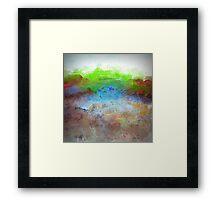 Landscape Design in Bright Green and Aqua Blue Framed Print