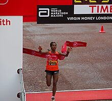 Tigist Tufa , the women's winner of the Virgin money London Marathon by Keith Larby