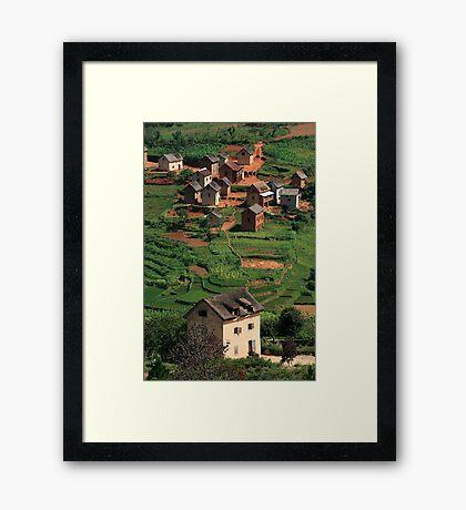 Monopoly Houses, Rural Landscape, Madagascar Framed Print