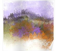 Landscape in Purple, Orange, and Greens Poster
